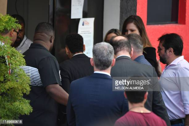 Brazilian football player Neymar arrives at the Women's Defence Precinct in Sao Paulo Brazil on June 13 2019 to testify after Brazilian Najila...
