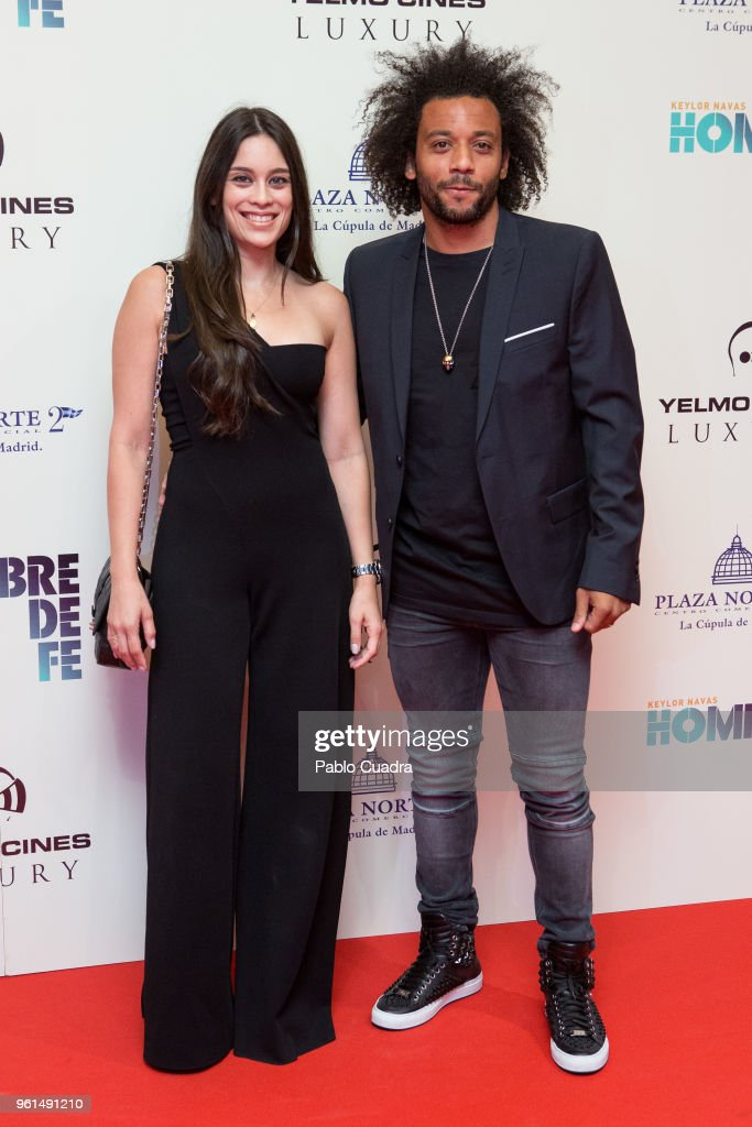 Brazilian football player of Real Madrid Marcelo Vieira and wife Clarisse Alves attend the 'Hombre De Fe' premiere at Yelmo cinema on May 22, 2018 in San Sebastian de los Reyes, Spain.