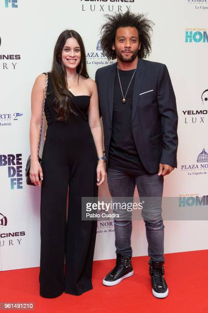 Brazilian football player of Real Madrid Marcelo Vieira and wife Clarisse Alves attend the 'Hombre De Fe' premiere at Yelmo cinema on May 22 2018 in...