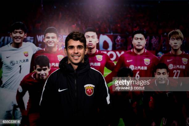 Brazilian football player Oscar of Shanghai SIPG poses for a portrait during a season launch event in Shanghai on February 13 2017 / AFP / Johannes...