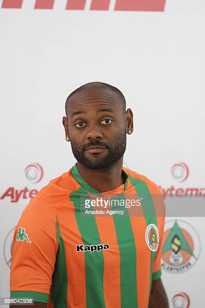 Brazilian football player Vagner Love poses with his new team jersey during a press conference after signing twoyear contract with the Turkish...