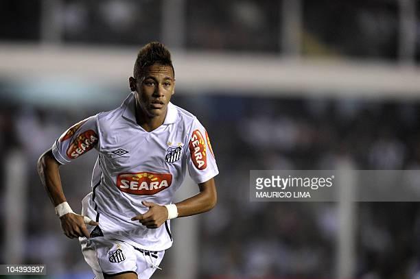 Brazilian football star Neymar, of Santos FC, is seen during their Brazilian Championship football match against Corinthians held at Vila Belmiro...