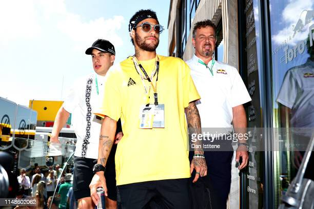 Brazilian football superstar Neymar walks onto the Red Bull Racing Energy Station before the F1 Grand Prix of Spain at Circuit de BarcelonaCatalunya...