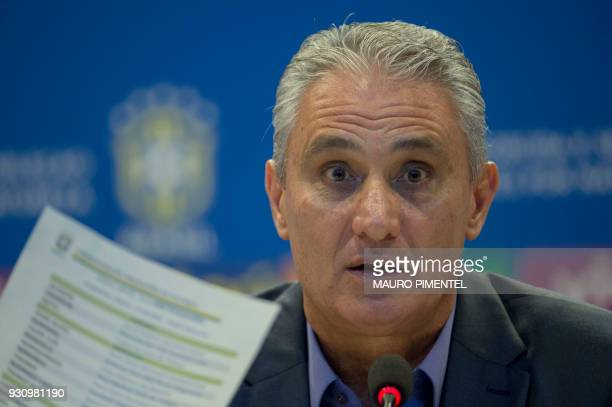 Brazilian football team head coach Tite attends a press conference to announce the list of players for the upcoming friendly matches against Russia...