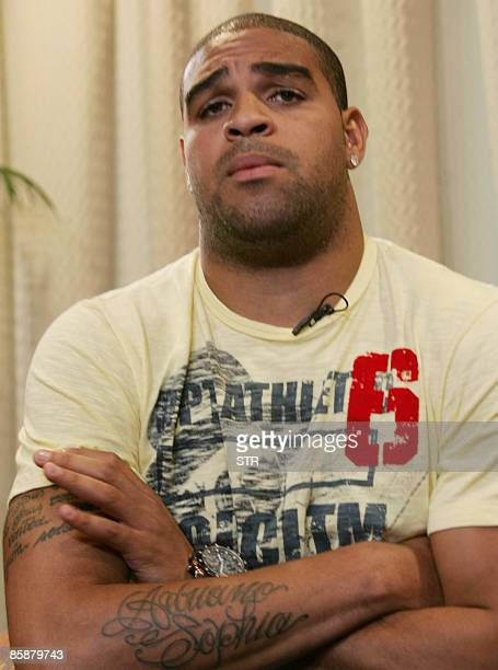 Brazilian footballer Adriano of the Internazionale de Milano during a press conference April 9 2009 in Barra da Tijuca western Rio de Janeiro Brazil...