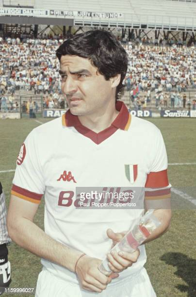 Brazilian footballer Agostino Di Bartolomei , midfielder and captain of AS Roma, pictured on the pitch prior to playing in a Serie A match during the...