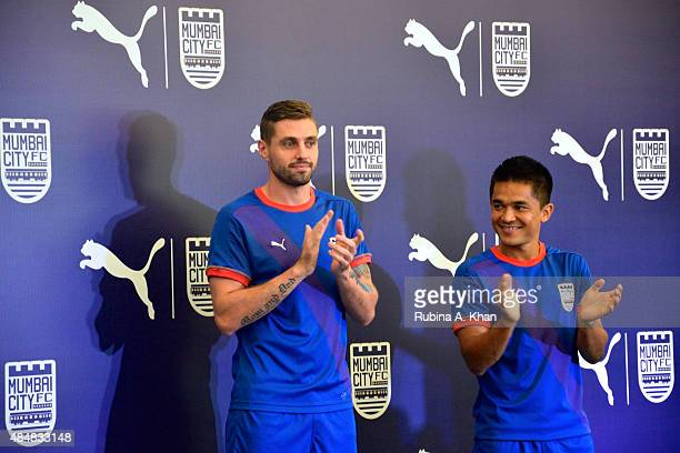 Brazilian footballer Andre Moritz and Indian striker Sunil Chhetri at the unveiling of their team Mumbai City FC's new Puma jersey and kit by...