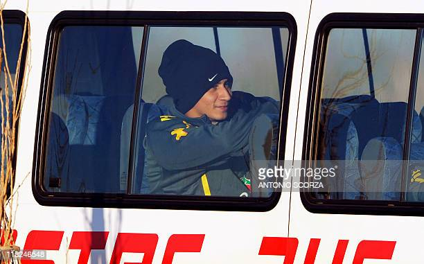 Brazilian footballer Ganso waits inside the bus after a training session on July 5 in Campana 70 Km north from Buenos Aires Brazil faces Paraguay...