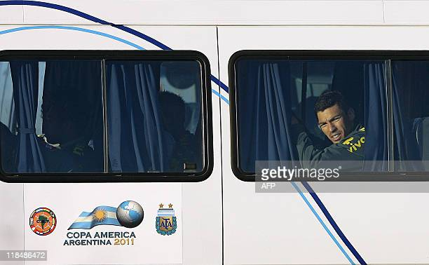 Brazilian footballer Lucio waits inside the bus after the training session on July 6 in Campana 70 Km north from Buenos Aires Brazil faces Paraguay...
