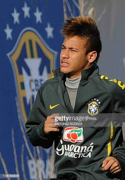 Brazilian footballer Neymar arrives for a training session on July 5 in Campana 70 Km north from Buenos Aires Brazil faces Paraguay next July 9 in a...