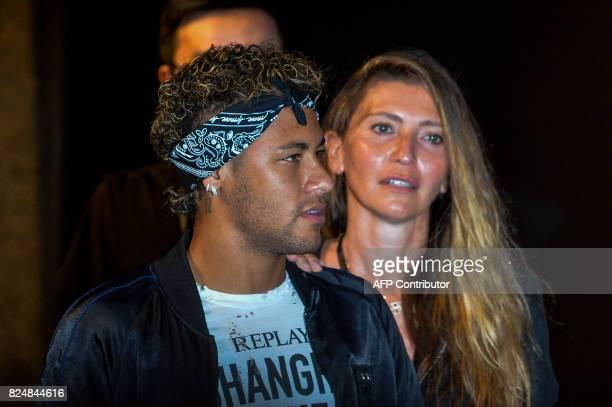 Brazilian footballer Neymar Jr looks on as he attends a fashion event in Shanghai on July 31 2017 Neymar hit the red carpet in Shanghai on July 31 as...