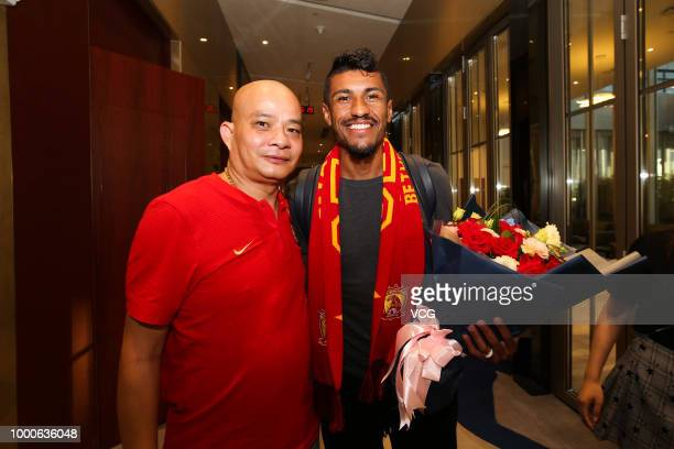 Brazilian footballer Paulinho of Guangzhou Evergrande Taobao FC arrives in Guangzhou on July 15 2018 in Guangzhou Guangdong Province of China