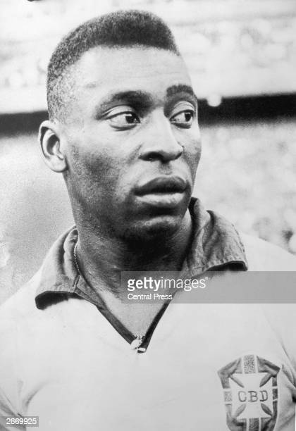 Brazilian footballer Pele at the warmup match against Scotland at Hampden Park in the 1966 World Cup