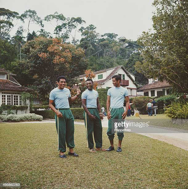 Brazilian footballer Pele in centre with teammates from the national squad at the Brazil team's Serra Negra training camp prior to the World Cup in...