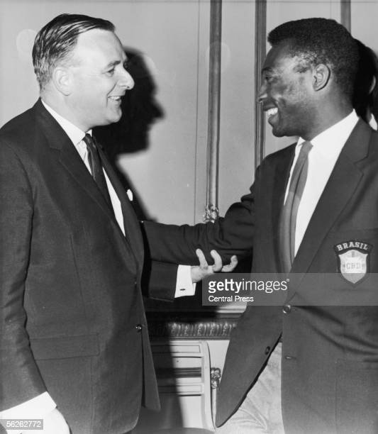 Brazilian footballer Pele meets Dennis Howell, Britain's minister for sport, at a reception for eliminated World Cup teams held at Lancaster House in...