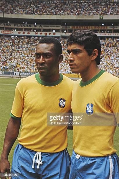 Brazilian footballer Pele pictured left with his Brazil international teammate Clodoaldo inside Estadio Jalisco football stadium in Guadalajara...
