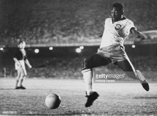 Brazilian footballer Pele playing for Brazil circa 1958