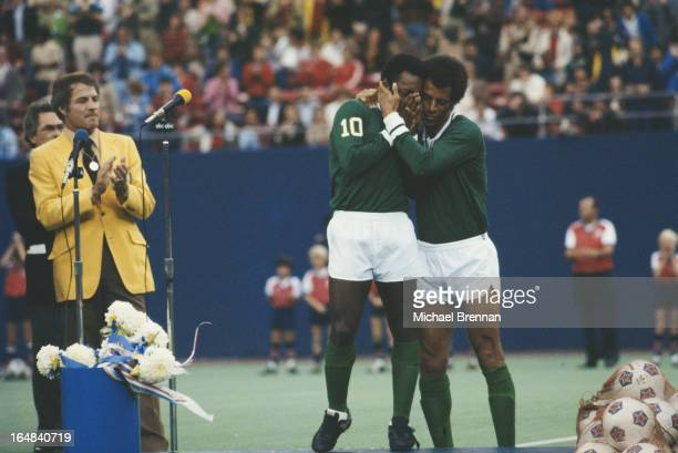 Brazilian footballer Pele retires from the New York Cosmos in Rutherford, New Jersey, 1977.