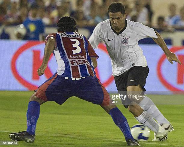 Brazilian footballer Ronaldo Nazario in action during a match of his team Corinthians against Itumbiara for the Brazilian Cup in Itumbiara state of...