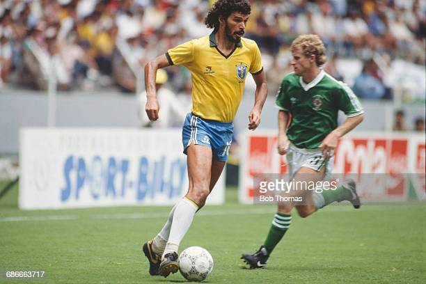 Brazilian footballer Sócrates during a FIFA World Cup Final match against Northern Ireland at the Estadio Jalisco in Guadalajara Mexico 12th June...