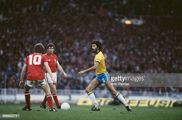 Brazilian footballer Sócrates during a match against England at Wembley Stadium in London UK 12th May 1981 The score was 10 to Brazil