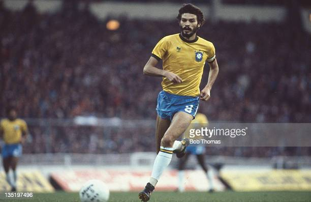 Brazilian footballer Socrates in action during a friendly international against England at Wembley Stadium London 12th May 1981 Brazil won the match...