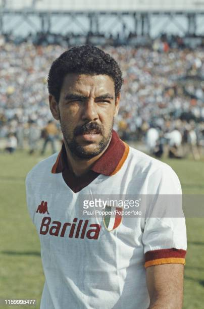 Brazilian footballer Toninho Cerezo, midfielder with AS Roma, pictured on the pitch prior to playing in a Serie A match during the 1983-84 season in...