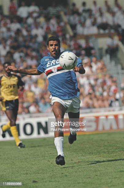 Brazilian footballer Toninho Cerezo, midfielder with Sampdoria, pictured in action with the ball during the Makita Tournament final match between...