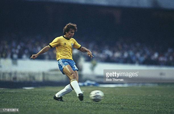 Brazilian footballer Zico in action during a World Cup South America Qualifying Round Group 3 match against Bolivia in Sao Paulo Brazil 30th June...
