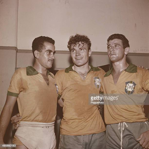 Brazilian footballer Zito posed on left with Brazil National squad teammates in 1962
