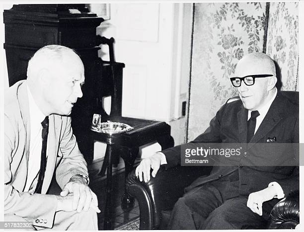 Brazilian Foreign Minister Jose Magalhaes Pinto meets August 20th with American aviator Charles A. Lindbergh, whose non-stop, solo, transatlantic...
