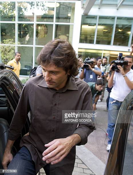 Brazilian former football player Leonardo one of the directors of Italian AC Milan and general secretary of Fondazione Milan gets into his car after...