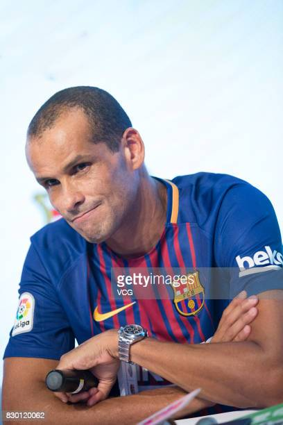 Brazilian former footballer Rivaldo attends Safeguard promotional event on August 11 2017 in Shanghai China