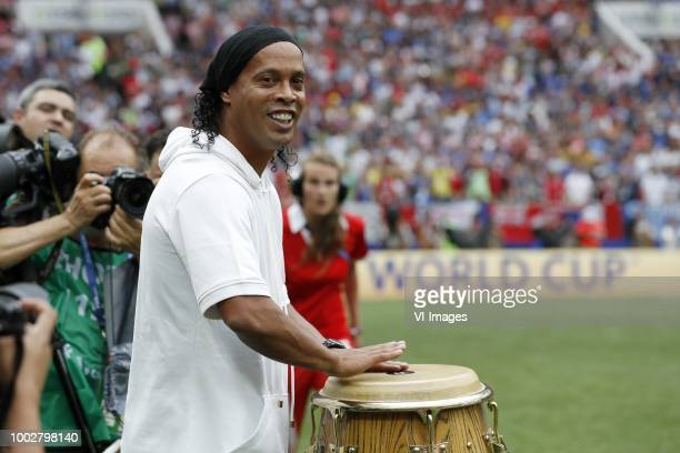 Brazilian former footballer Ronaldinho and World Cup winner 2002 performs during the closing ceremony prior during the 2018 FIFA World Cup Russia...