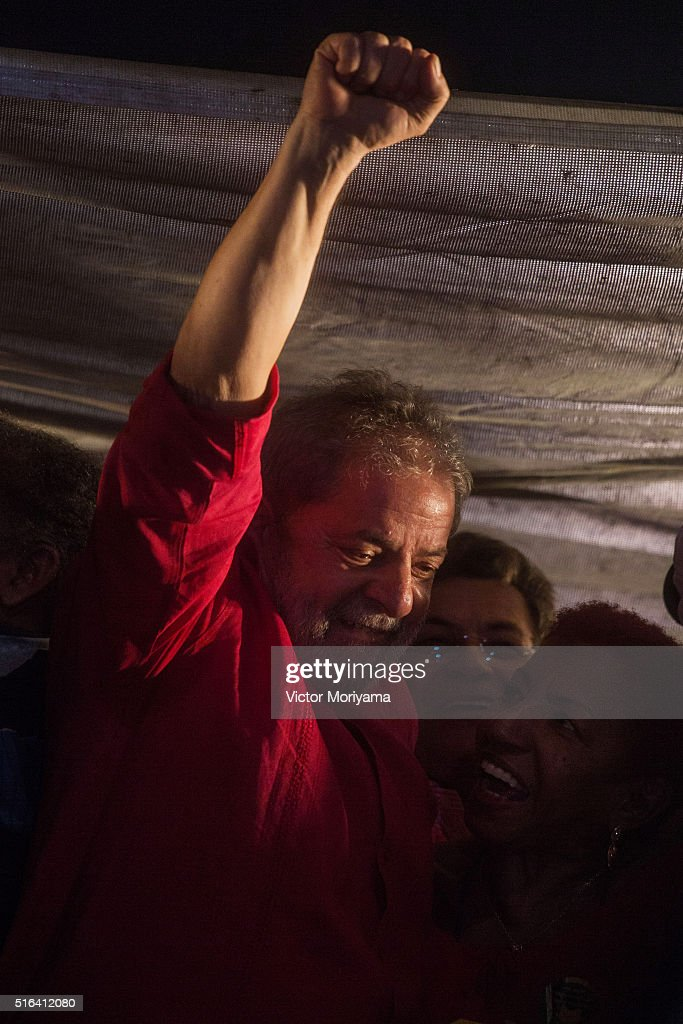 Brazilian Former President Luis Inacio Lula da Silva gives a speech to thousands of supporters out in protest on March 18, 2016, in Sao Paulo, Brazil. Former President Luiz Inacio Lula da Silva had his temporary detention requested by the prosecutor of Sao Paulo for alleged involvement in funding shifts and corruption. A telephone recording between President Dilma Rousseff and former President Lula was released by the Federal Police, which seems to suggest that he was appointed into the cabinet in an attempt to avoid prosecution in the corruption scandal.