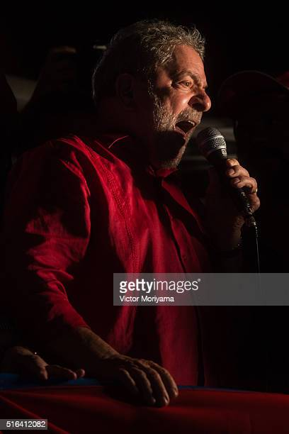 Brazilian Former President Luis Inacio Lula da Silva gives a speech to thousands of supporters out in protest on March 18 in Sao Paulo Brazil Former...