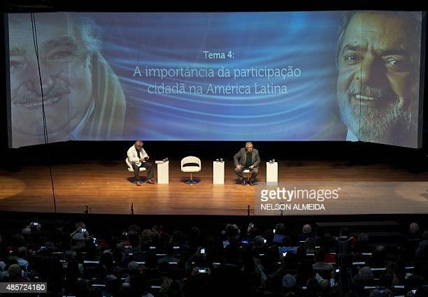 "Brazilian former president Luiz Inacio Lula Da Silva and Uruguayan former president Jose Mujica take part in the seminar ""Citizen Participation,..."