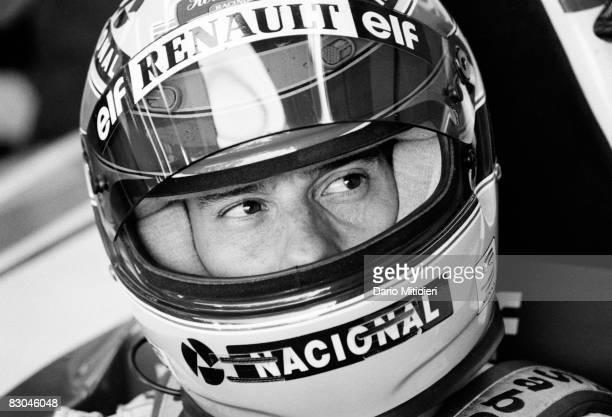 Brazilian Formula 1 race car driver Ayrton Senna in his car during a qualifying round of the San Marino F1 Grand Prix on the Imola Circuit Imola...