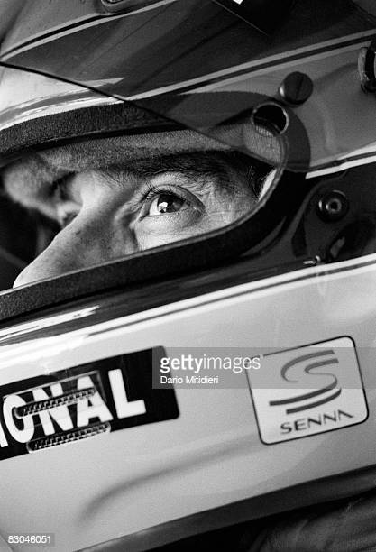 Brazilian Formula 1 race car driver Ayrton Senna in his car during a qualifying round of the San Marino F1 Grand Prix on the Imola Circuit, Imola,...