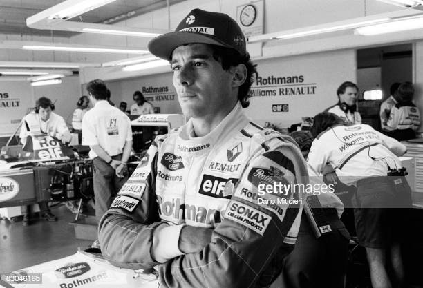Brazilian Formula 1 race car driver Ayrton Senna watches during a qualifying round of the San Marino F1 Grand Prix on the Imola Circuit Imola Italy...