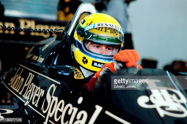 Brazilian Formula One driver Ayrton Senna concentrates aboard his Lotus 97T on April 13, 1986 during the Spanish Grand Prix held at the Jerez circuit.
