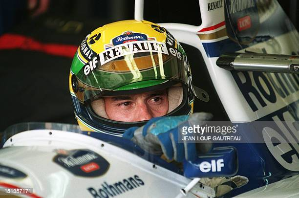 Brazilian Formula One driver Ayrton Senna in his WilliamsRenault 30 April 1994 during the second practice round on the Imola track the day before the...