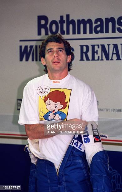 Brazilian Formula One driver Ayrton Senna in the pits before his crash during the San Marino Grand Prix in Imola Italy 01 May 1994 Senna died after...