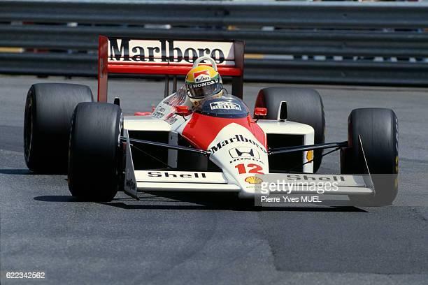 Brazilian formula one driver Ayrton Senna, of the McLaren-Honda racing team, during the 1988 Monaco Grand Prix.