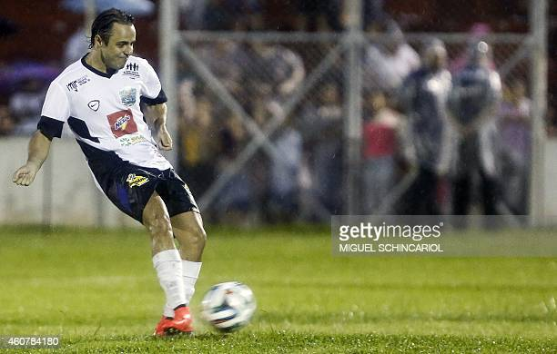 Brazilian Formula One driver Felipe Massa takes part in the charity football match 'Ball Hunger Only' at Jaime Cintra stadium in Jundiai in Sao Paulo...