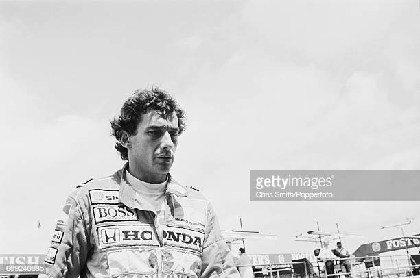 Brazilian Formula One racing driver Ayrton Senna pictured during a practice and qualifying session on 12th July two days before driving the Honda...