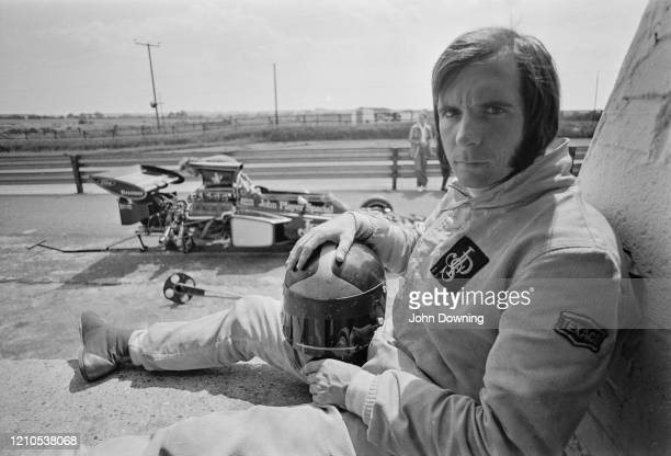 Brazilian Formula One racing driver Emerson Fittipaldi during practice for the 1972 British Grand Prix at the Brands Hatch motor racing circuit in...