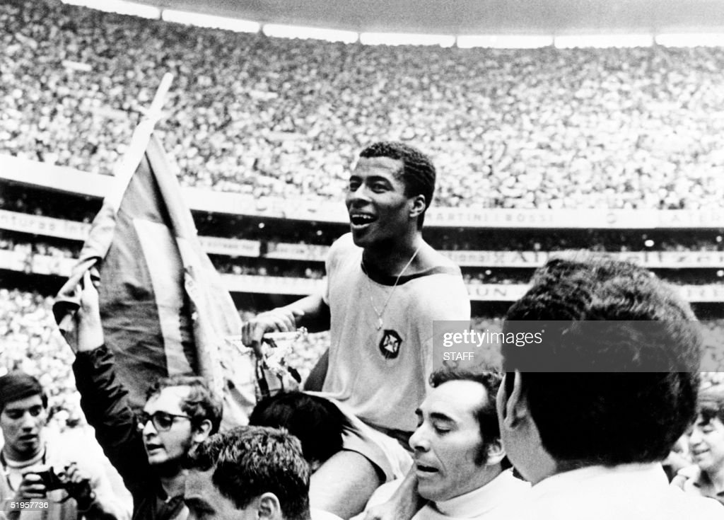 Brazilian forward Jairzinho is carried by fans after Brazil defeated Italy 4-1 in the World Cup final 21 June 1970 in Mexico City. It is Brazil's third World title after the first two won in 1958 in Sweden and 1962 in Chile.