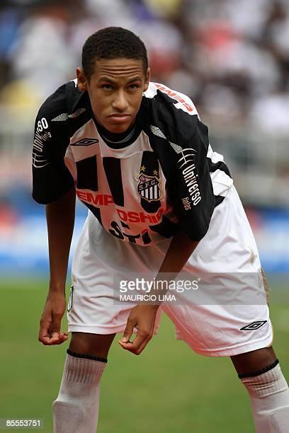 Brazilian forward Neymar, of Santos, gets ready for their 2009 Paulista Championship football derby match against Corinthians, at Pacaembu Stadium,...