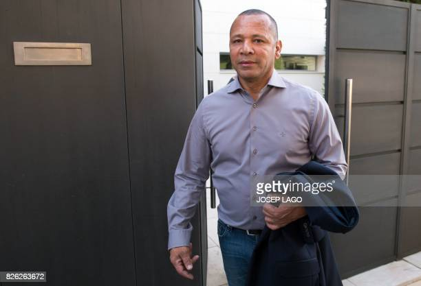 Brazilian forward Neymar's father Neymar Santos leaves his son's home in Barcelona before flying with him to Paris on August 4 2017 Brazilian...